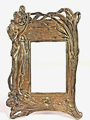 """Art Nouveau Brass Picture Frame With Woman Girl 10"""" Tall"""