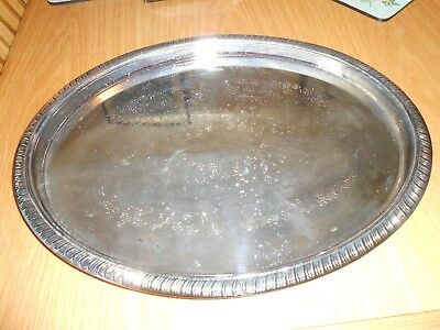 Vintage Silver Plated Oval Tray By Leonard