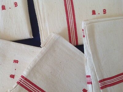 Unused Vintage French Metis Linen Torchons /tea Towels Traditional Stripes