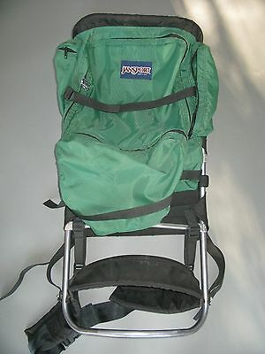 New Vtg Jansport External Frame Backpack In Green With Leather Curved Bottom