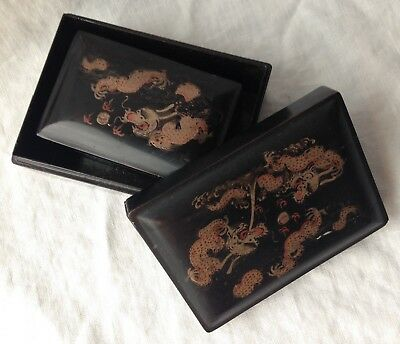 """Antique FOOCHOW Ling Dai Mi 4 Nesting Boxes Lacquered Painted Dragons 5.25"""""""