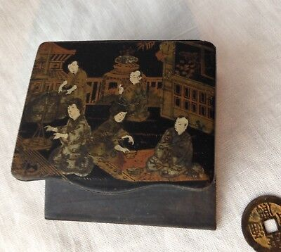 "Antique Japanese Wood Box For Desk Trinkets Hand-Painted 5 Figures 3"" X 3 3/8"""