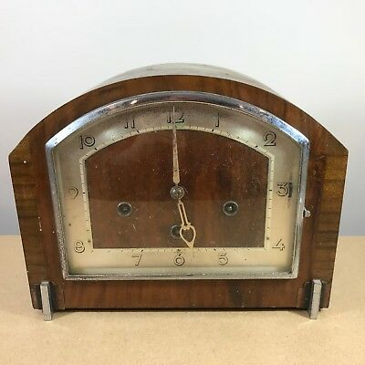 LARGE VINTAGE MANTEL CLOCK . Hamburg American Clock Factory Movement . UNTESTED