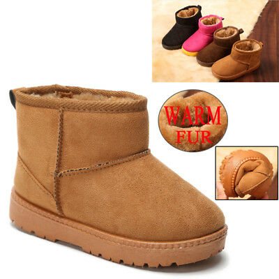 Kids Boys Girls Winter Ankle Boots Fur Warm Comfy Toddler Infant Slippers Shoes