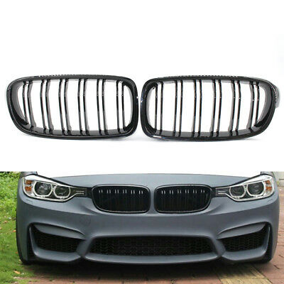 Pair Front Kidney Grilles Grill For BMW F30 F35 Dual Line Gloss Black 12-16 CHK
