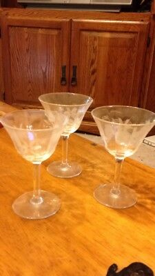 Lot Of Three Antique Vintage Cordial Glasses