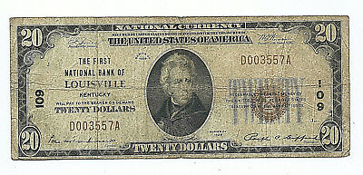 The First National Bank Of Louisville, Kentucky  = 1929 $20 National Banknote