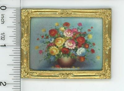 Dollhouse Miniature Gold Framed Picture of a Vase of Colorful Flowers