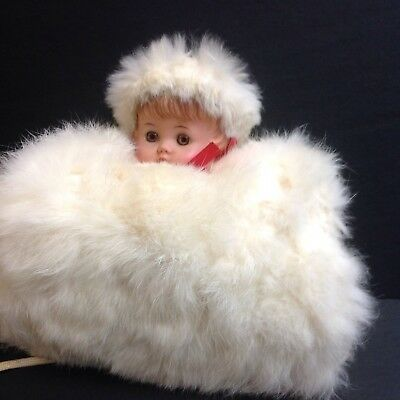 Vintage (1950's) Child's Rabbit Fur And Satin Muff/Hand Warmer With Doll