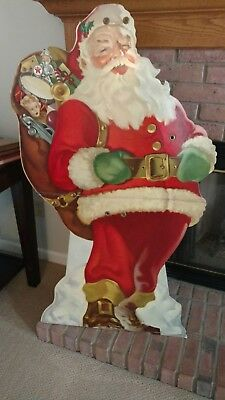 "Vintage TEXACO SANTA Christmas Dealer stand up display 49"" tall x 27"" wide"