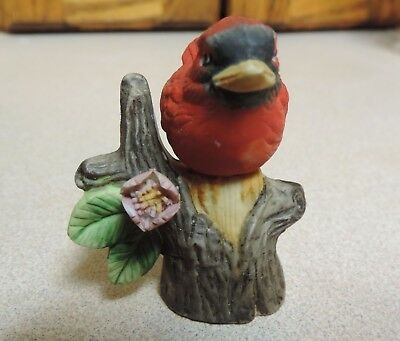 Vintage ENESCO Cardinal RedBird RED BIRD Figurine Flower Branch KOREA Tree Trunk