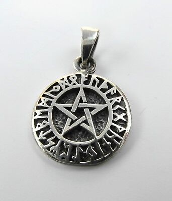 Sterling Silver (925)  Pentagram  In  Rune  Circle   Pendant   !!        New !!