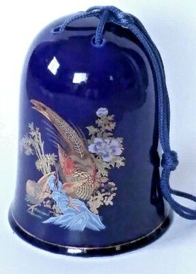 Vtg 1981 Cobalt Blue Bird Pheasant Bell CHIME Kutani Style Floral Design Taiwan