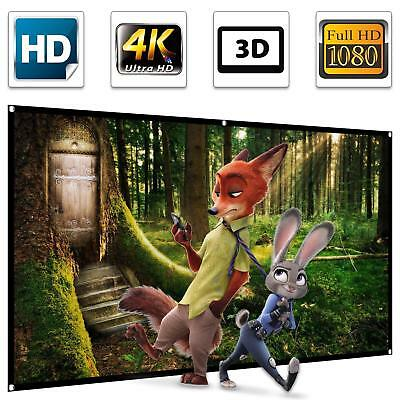 100 inch Projection Screen 16:9 HD 4K Ultra HDR 3D 1.3 Gain Foldable Anti-crease
