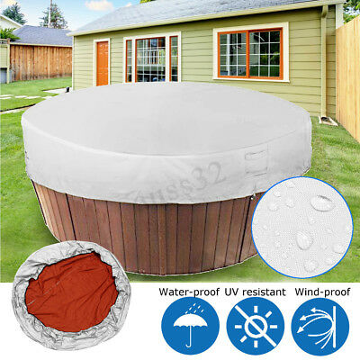 Light Grey Polyester Fabric Adjustable Rope Waterproof Hot Tub Weather Cover