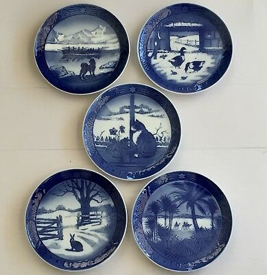 Lot of 5 ROYAL COPENHAGEN Christmas Plates 1968 - 1972 Blue Denmark EXCELLENT