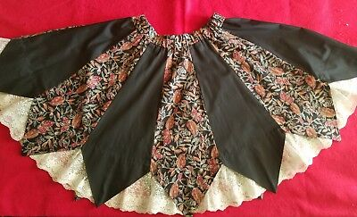 Pretty Lacy London Bridge Square Dance Skirt - Nice Lace Inserts  20 In  L