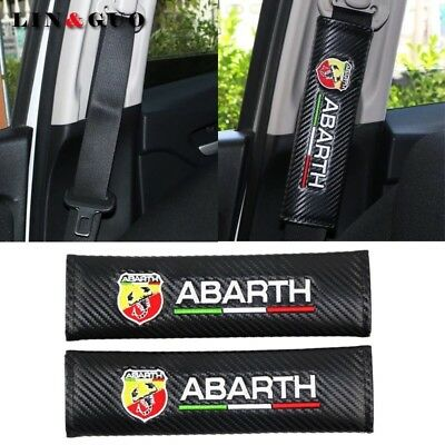 2PCS Fiat Abarth carbon fibre Padded Seat Belt covers Black - 500 Punto