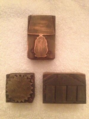 Antique 3 Letterpress Printer's Woodblock Stamps Architecture, FREE SHIPPING!