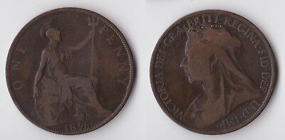 1896 Great Britain 1 penny coin