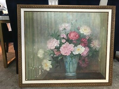 Vintage Floral Painting Of Flowers In Vase Beautifully Framed Large Size