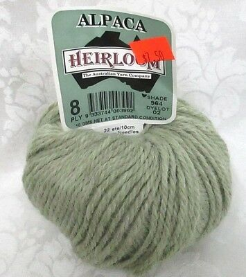 NEW~ HEIRLOOM BREEZE~ Australian Yarn Co~ #004 GREEN ~  8 Ply~Wool//Cotton Sage