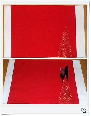 Pair PLACE MATS CUTLERY POCKET 2 Red Fabric Tablemats dinner NEW HANDMADE Gift