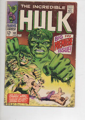 INCREDIBLE HULK #102 comic book from 1968/Very Affordable copy!