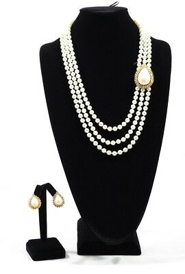Three Strands of Pearls and Earring Bridal Set