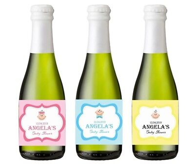 X10 Personalised Mini Champagne Prosecco Baby Shower Bottle Stickers Labels