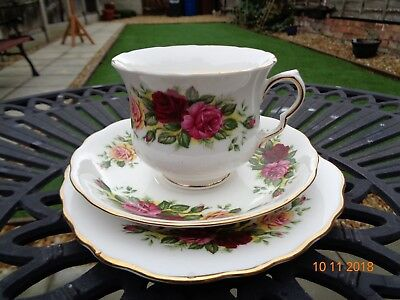 Vintage Royal Vale 'Trio of Roses' Cup, Saucer & Tea Plate Trio - VGC