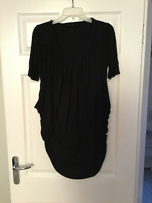 Mothercare M2b Ladies Black Maternity Tunic Top/Dress Size Medium