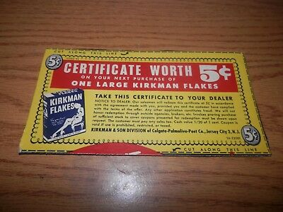 Kirkman Flakes Cereal Vintage Cardborad Certificate Coupon Worth 5 Cents