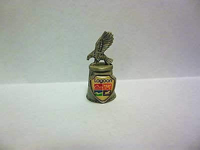 "Thimble - ""Lagoon"" on Shield, Bird on Top - Metal - 1 3/4"" Tall, 1/2"" Wide"