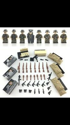 WW2 8pc Army Soldier Minifigure + Over 25pc Weapons/guns Set, Free Lego Block