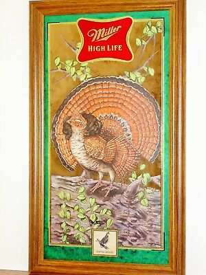 """MILLER HIGH LIFE Wild Life Series Mirror """"RUFFED GROUSE""""  BRAND NEW IN BOX"""