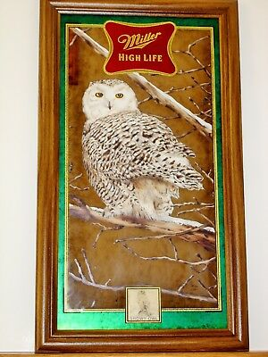 """MILLER HIGH LIFE Wild Life Series Mirror """"SNOWY OWL""""  BRAND NEW IN BOX"""