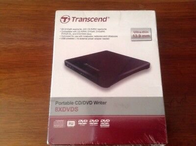 NEW Transcend Ultra-thin Portable CD/DVD Writer - TS8XDVDS-K DVDR CDR