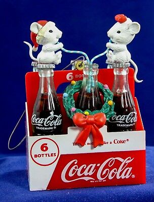 Vintage 1991 Enesco Coca-Cola COKE Mice on a Six Pack XMas Ornament New in Box