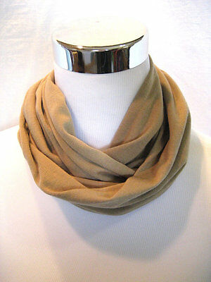 Baby TODDLER Child's solid Tan soft cotton jersey knit Infinity Scarf PHOTO PROP