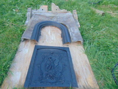 Antique 1880's Cast Iron fireplace surround stone mantle carved face front slate