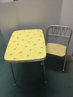 Retro Vintage Chrome 1970's Child size Formica Top Folding table and chair