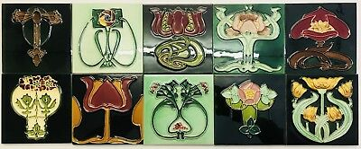 10 X Art Nouveau Tubelined Majolica Tiles Fireplace Kitchen Porch PERFECT