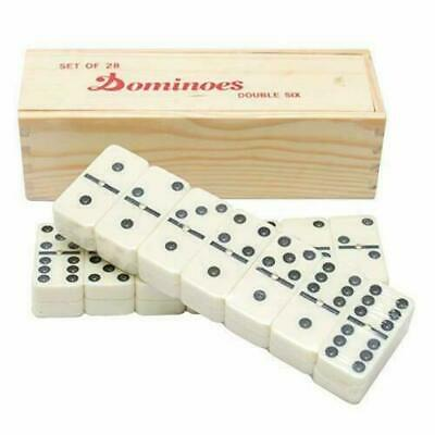 Double Six Club Pub Dot Dominoes Game Set - 28 Double 6 Dominoes Set wooden box