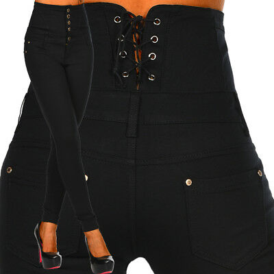 Sexy Women's Stretchy Trousers Skinny Slim High Waisted  Corset B 082