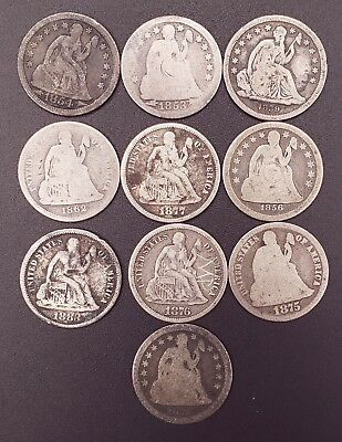 1839 - 1883 Seated Dime Lot - 10 Coins no Duplicates!!!