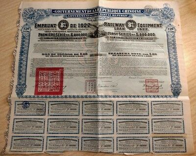 China Chinese 1922 Railway Equipment 20 Francs Coupons UNC Bond + Certificat VGC