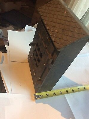 Antique Cast Iron Mailbox Mission Art & Crafts Gothic Style w/ Slot As Found