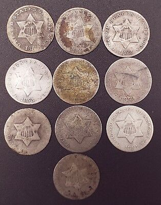 Lot of 10 Silver 3 Cent Pieces!!!
