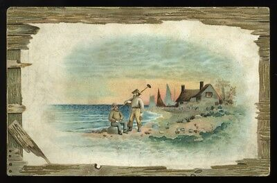 *Original 1890s Ludingon Michigan MI ~ Joy Remedy Company ~ Seascape Tradecard